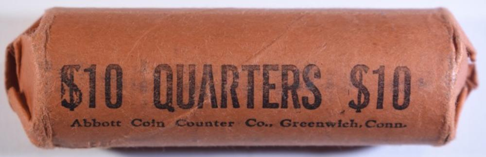 Lot 306: WRAPPED ROLL OF 1964 WASHINGTON QUARTERS