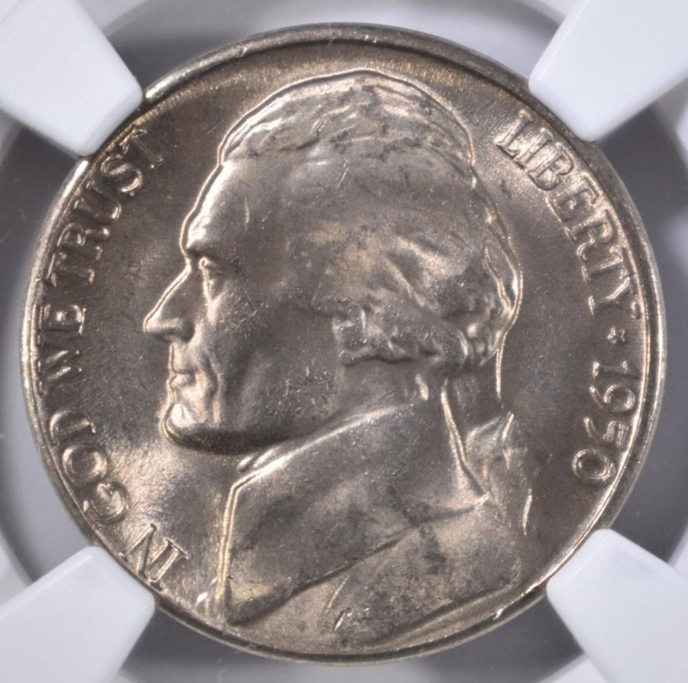Lot 314: 1950 D JEFFERSON NICKEL NGC MS-66 5FS