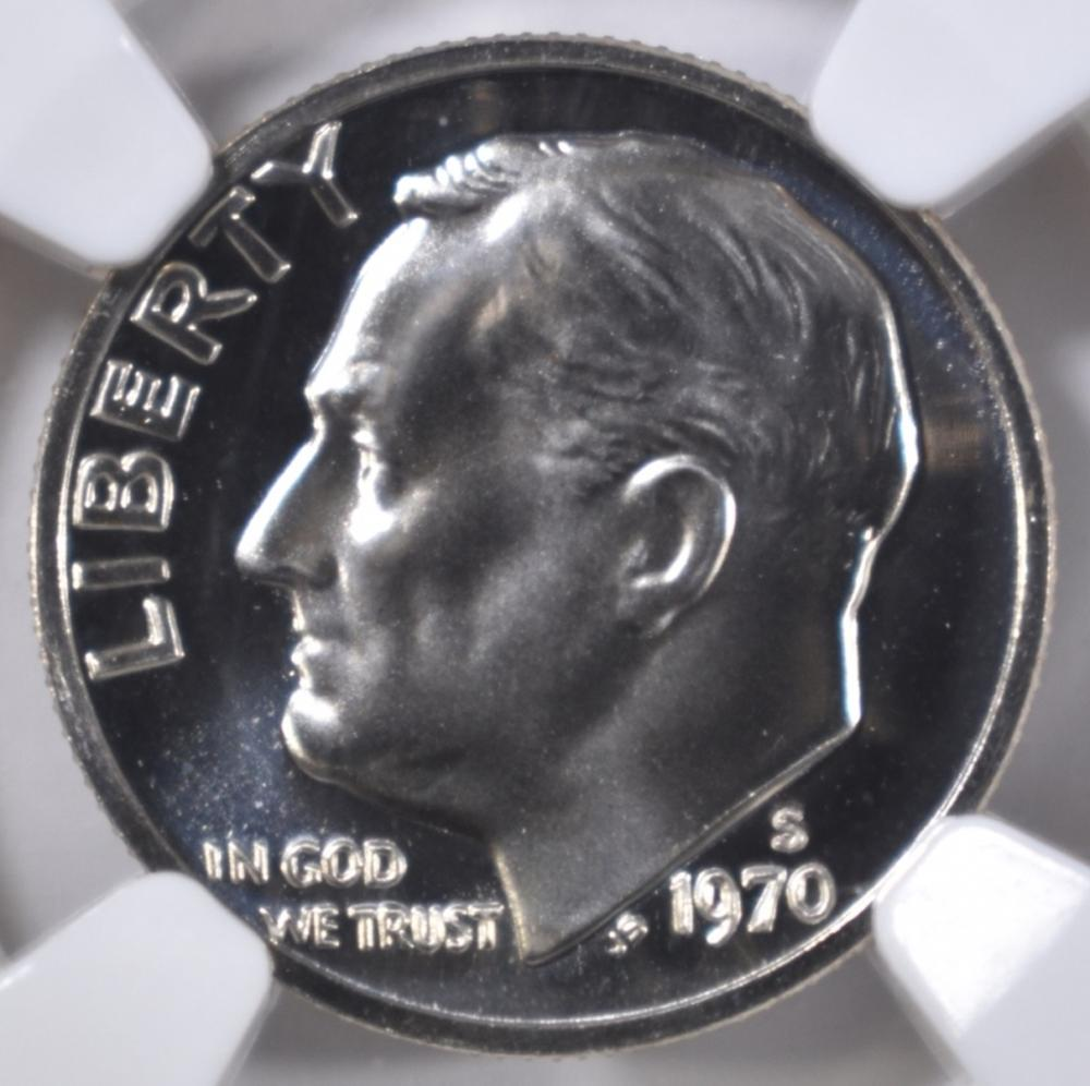 Lot 326: 1970-S ROOSEVELT DIME NGC PF-69 CAMEO