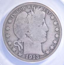 Lot 332: 1913 BARBER HALF DOLLAR, ANACS GOOD-4 KEY DATE