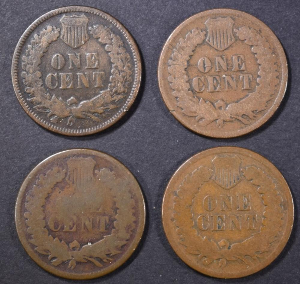 Lot 340: 1873, 74, 75, 76 INDIAN CENTS GOOD