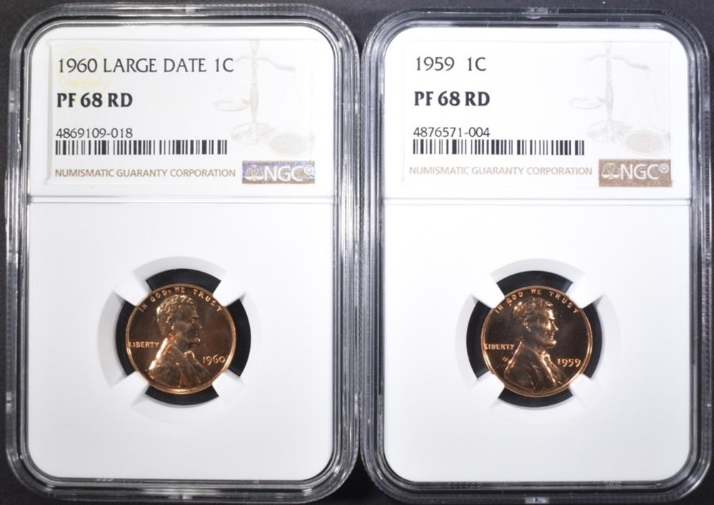 Lot 354: 1959 & 60 LARGE DATE LINCOLN CENTS, NGC PF-68 RED
