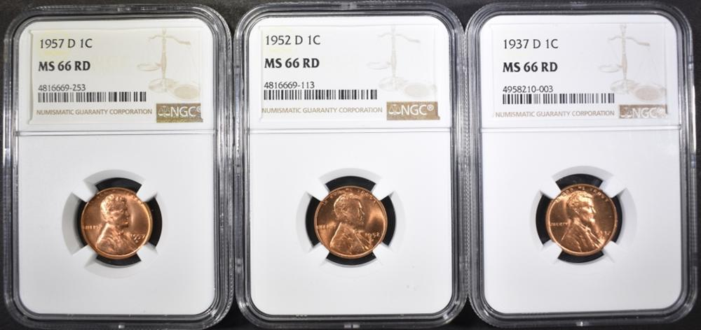 Lot 351: 1937-D, 52-D & 57-D LINCOLN CENTS, NGC MS-66 RED
