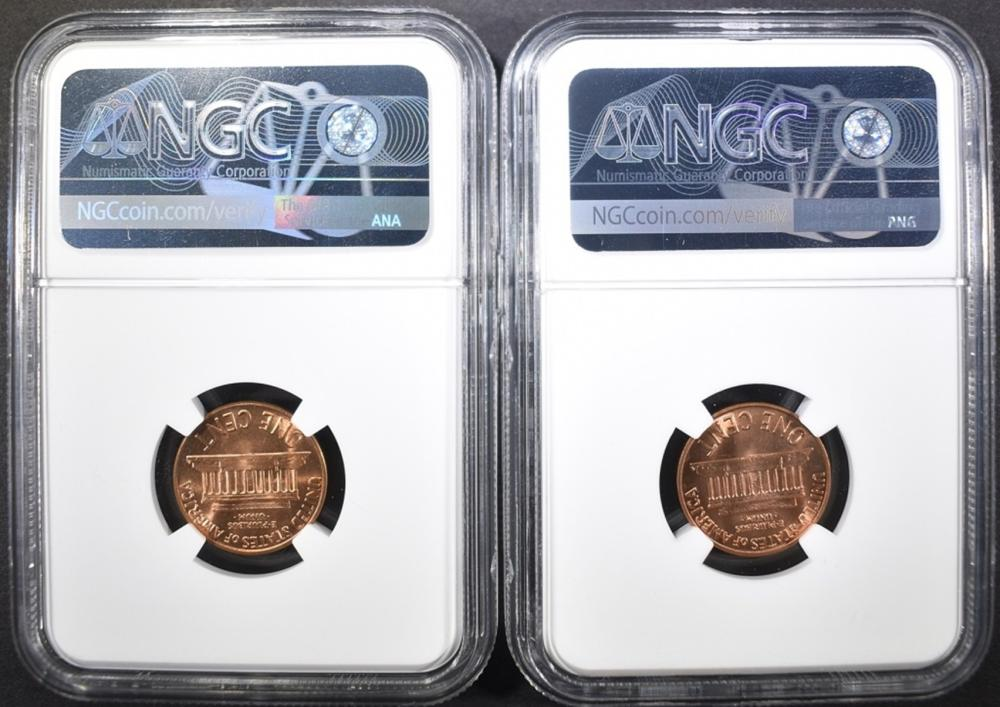 Lot 353: 1960 SD & LD LINCOLN CENTS, NGC MS-66 RED