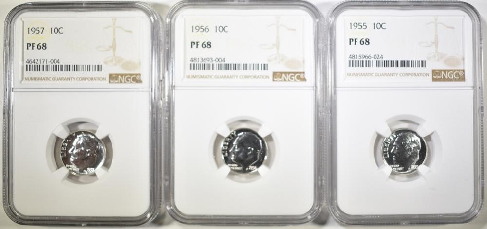 Lot 365: 1955, 56 & 57 ROOSEVELT DIMES, NGC PF-68