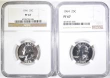 Lot 368: 1956 & 64 WASHINGTON QUARTERS NGC PF-67