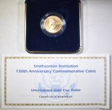 Lot 376: 1996 SMITHSONIAN 150TH ANNIV $5 GOLD UNC COIN.