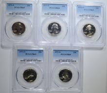 Lot 370: 5 1971-S WASHINGTON QUARTERS PCGS PR-69