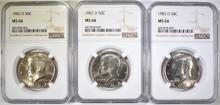 Lot 375: 3-1982-D KENNEDY HALF DOLLARS, NGC MS-66