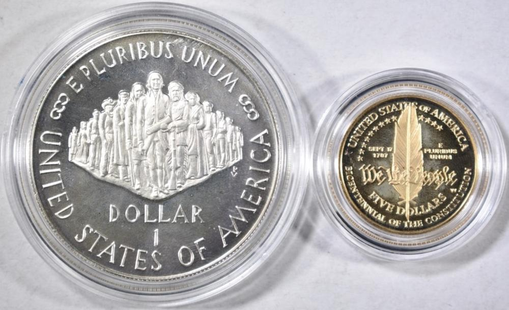 Lot 377: 1987 US CONSTITUTION 2-COIN PROOF SET