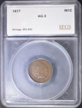 Lot 380: 1877 INDIAN HEAD CENT SEGS AG