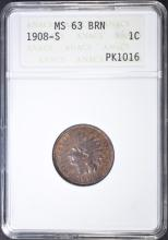Lot 385: 1908-S INDIAN HEAD CENT ANACS MS-63 BRN