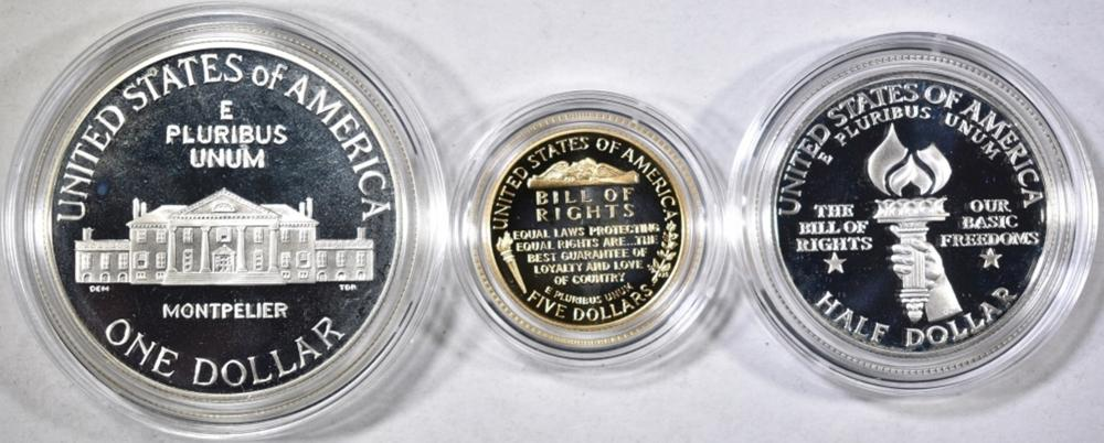Lot 378: 1993 BILL OF RIGHTS COMMEMORATIVE 3-COIN PROOF SET