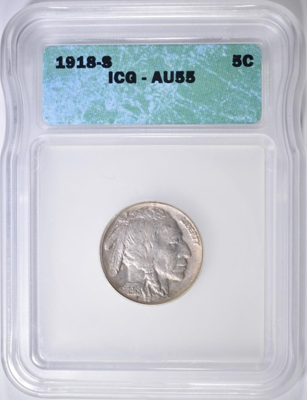 Lot 398: 1918-S BUFFALO NICKEL ICG AU-55