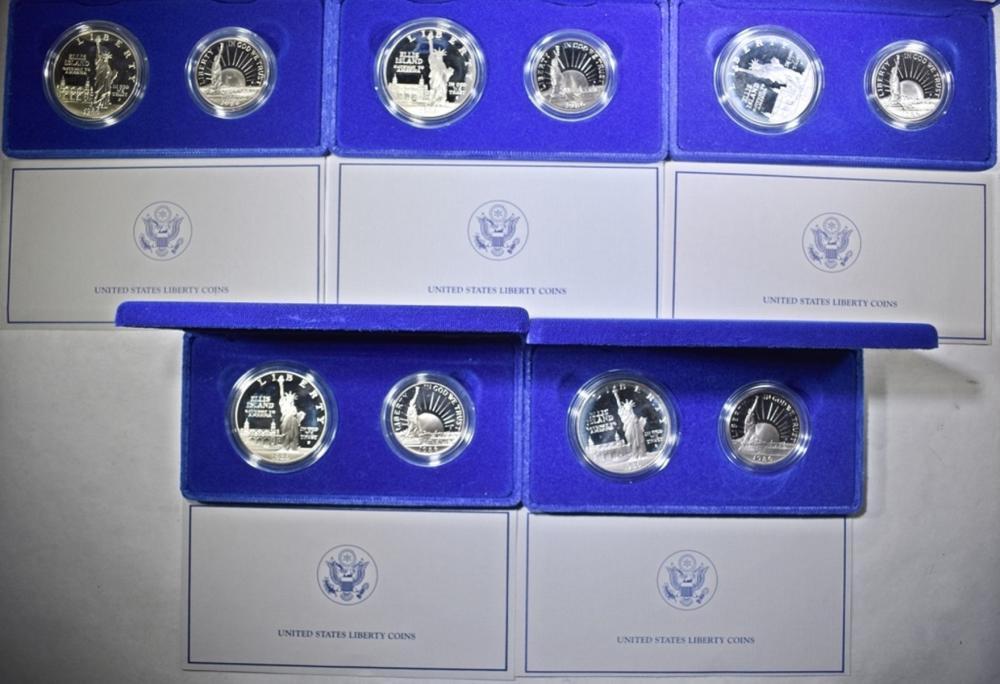 Lot 412: 5-1986 2-COIN PROOF LIBERTY COMMEM SETS