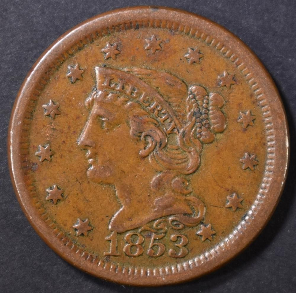 Lot 439: 1853 LARGE CENT XF