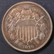 Lot 443: 1870 2 CENT PIECE CH/GEM BU RB