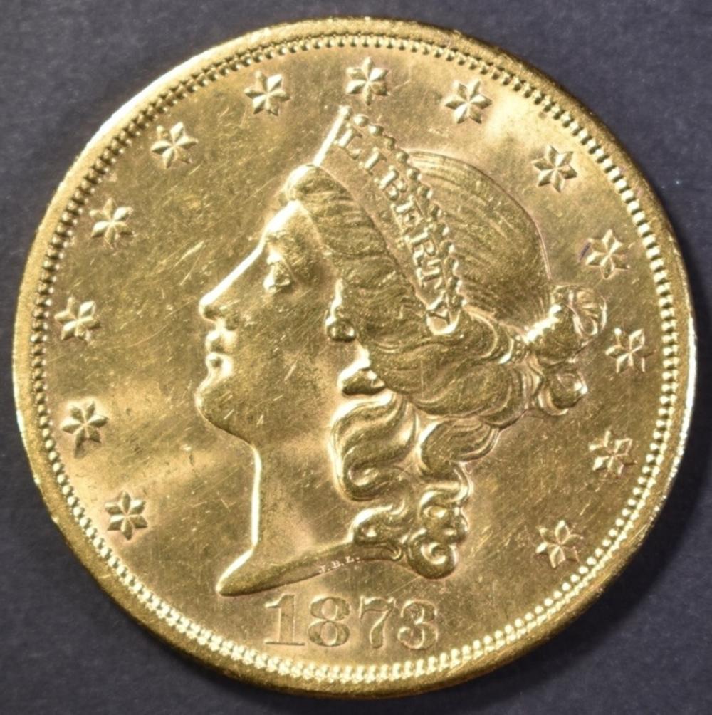 Lot 449: 1873-S $20 GOLD LIBERTY CH/BU / GEM BU