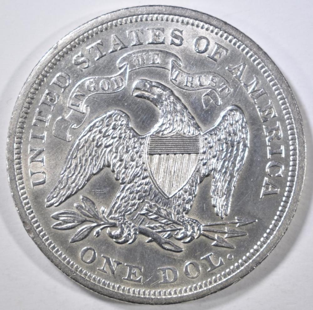 Lot 448: 1872 SEATED DOLLAR AU/BU