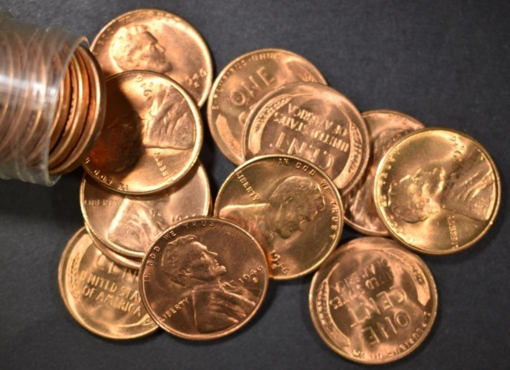 Lot 467: BU ROLL OF 1946-S LINCOLN CENTS
