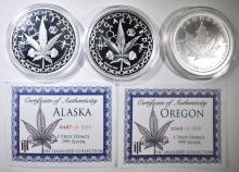Lot 464: 3-ONE OUNCE .999 SILVER LEGALIZE ROUNDS