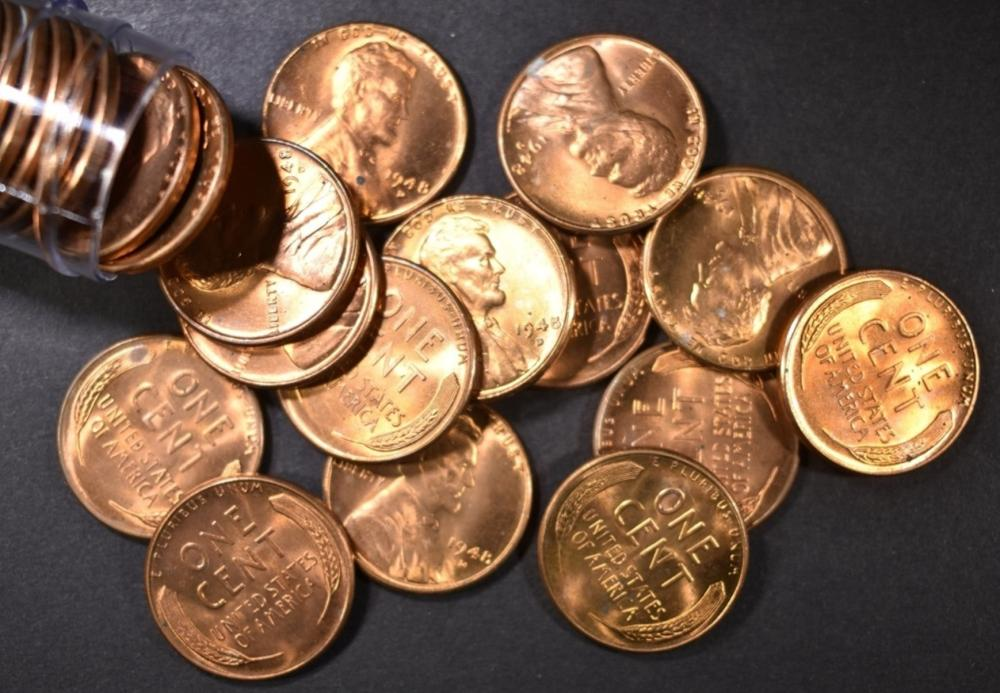 Lot 468: BU ROLL OF 1948-D LINCOLN CENTS
