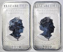 Lot 478: 2-2019 1oz SILVER RECTANGULAR DRAGON COINS