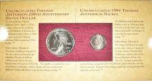 Lot 476: 1993 THOMAS JEFFERSON COIN & CURRENCY SET