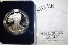 Lot 487: 1994 PROOF AMERICAN SILVER EAGLE ORIG BOX/COA