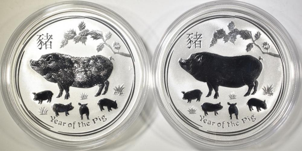 Lot 481: 2-2019 AUSTRALIAN 1oz SILVER YEAR OF THE PIG COINS