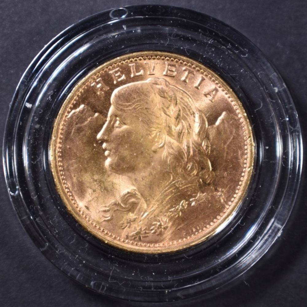 Lot 495: 1949 SWISS 20 FRANC GOLD