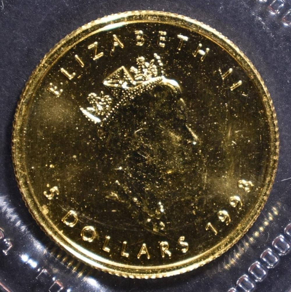 Lot 494: 1998 1/10 oz CANADA GOLD MAPLE LEAF .9999 FINE
