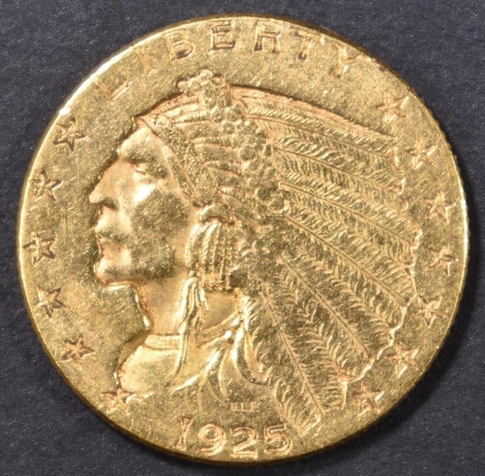 Lot 497: 1925-D $2.50 GOLD INDIAN, AU/BU
