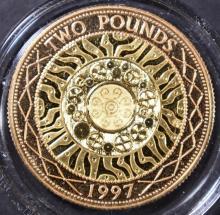 Lot 493: 1997 UK 2 POUNDS GOLD COIN 14.63 GRAM AGW