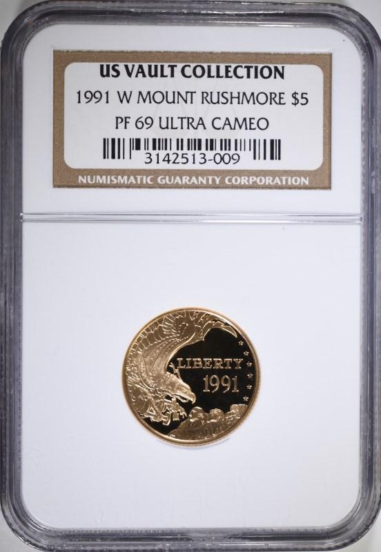 1991-W MOUNT RUSHMOORE $5.00 COMMEMORATIVE GOLD, NGC PF-69 ULTRA CAMEO