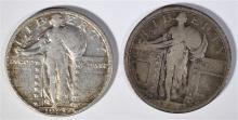 STANDING LIBERTY QUARTER LOT: 1917 TYPE-1 FINE & 1929-S, XF