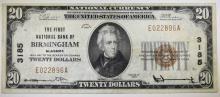 1929 $20 NATIONAL CURRENCY TYPE 1 1ST NATL BANK OF BIRMINGHAM CH VF MINOR SPLIT