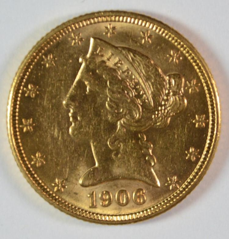 1906-D $5 GOLD LIBERTY BU