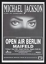 MICHAEL JACKSON GERMAN 1992 DANGEROUS TOUR POSTER.