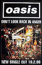 OASIS DON'T LOOK BACK IN ANGER 1996 RECORD PROMO POSTER.