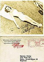 RITA HAYWORTH 1946 FACSIMILE SIGNED CARD AND ORIGINAL ENVELOPE