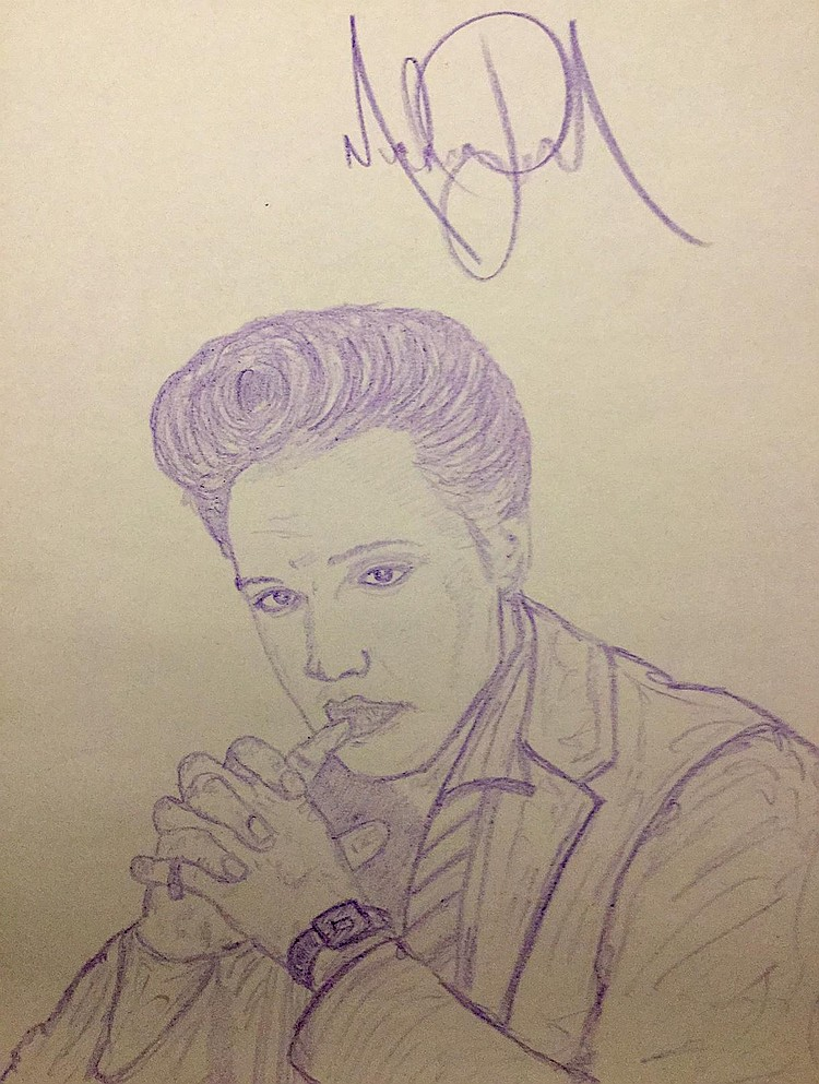michael jackson drawing of elvis presley