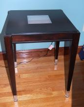 Side Table and Wicker Lamp