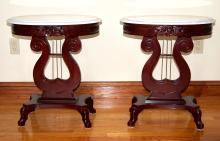 Pair - Victorian style Marble Top Tables