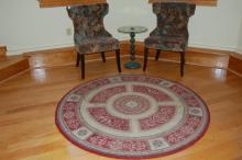 Round Oriental Rug, Ladies Chairs, Glass Top Table