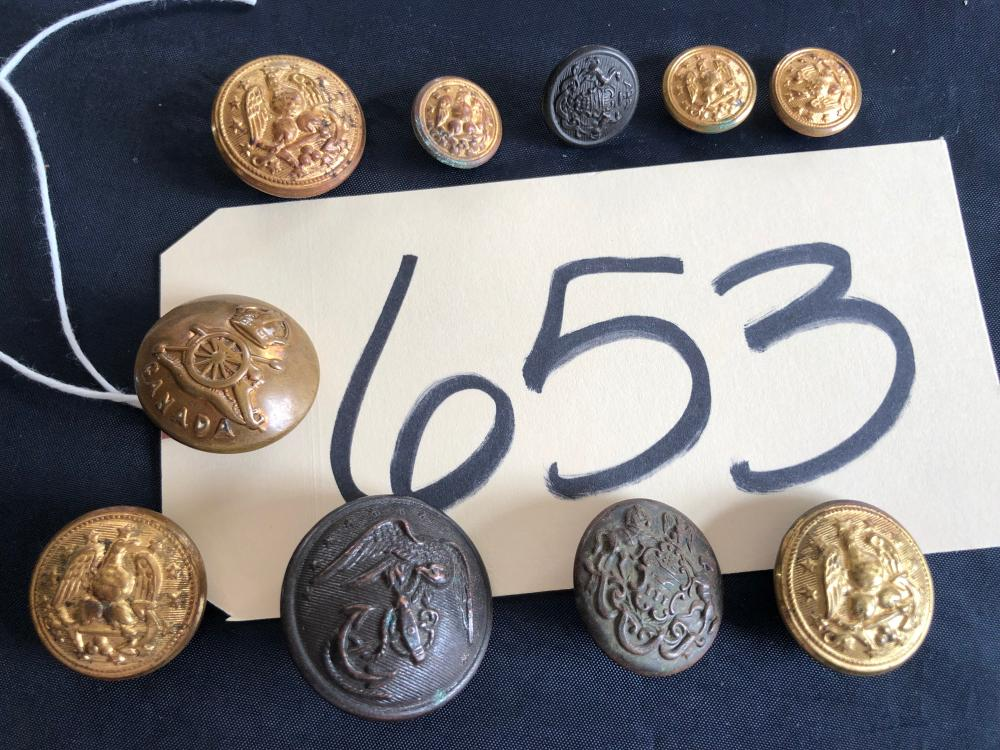 LOT OF 10 - ANTIQUE CIVIL WAR BUTTONS FEDERAL NAVY