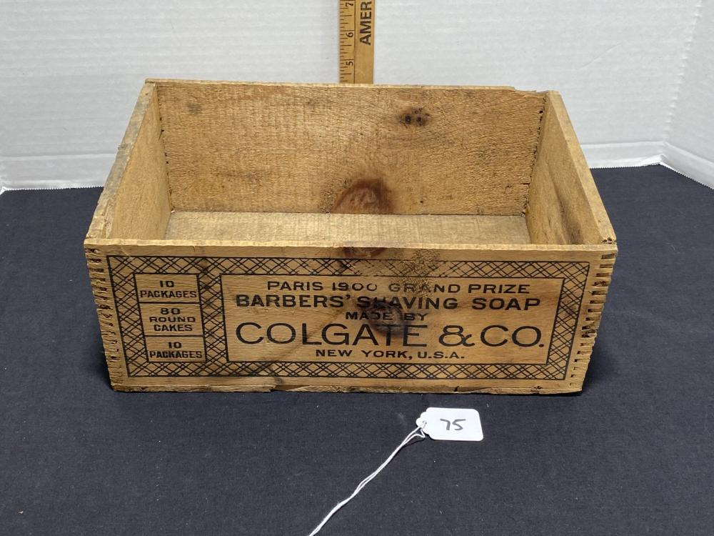 ANTIQUE COLGATE & CO. WOOD SHAVING SOAP BOX