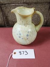 VINTAGE HAND PAINTED MILK GLASS PITCHER