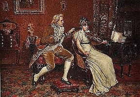 """191 THOMAS W. SHIELDS (American 1849-1920) A PAINTING, """"The Violin Lesson,"""" oil on canvas, signed and dated 1893 L/R. 14"""" x 20"""". Period frame. Estimate: $5,000.00 - $6,000.00"""
