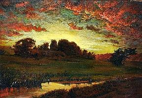 """201 THOMAS W. SHIELDS (American 1849-1920) A PAINTING, """"Sunset Landscape with Riverbank,"""" oil on canvas, signed L/R. 15"""" x 22"""". Period frame. Estimate: $4,000.00 - $5,000.00"""
